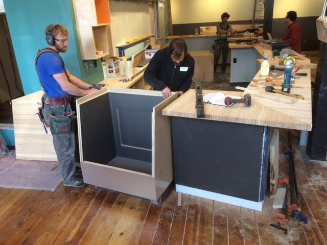 Bar installation and setting the cask keg display case.