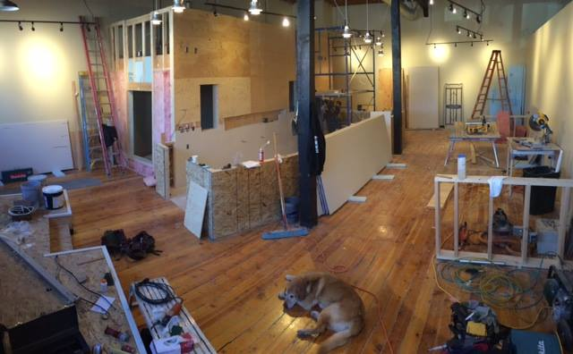 Insulation and drywall underway and cable suspended track lighting complete.